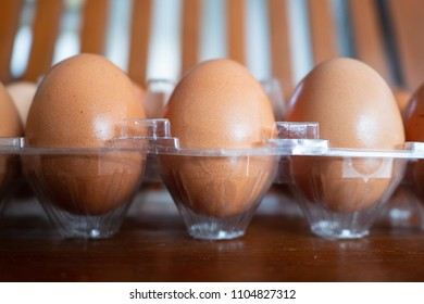 Chicken eggs in a plastic pack
