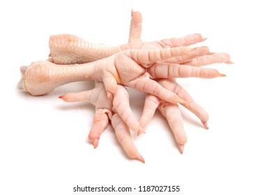 Chicken feet on white background