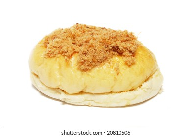 A chicken floss bun isolated on white background.