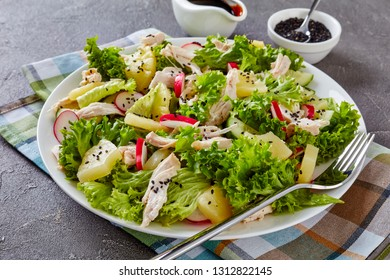 chicken, fresh lettuce leaves, pineapple, radish and cucumber salad on a white dish, on a napkin on a concrete table with balsamic vinegar dressing at the background, view from above, close-up