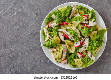 chicken, fresh lettuce, pineapple, radish and cucumber salad sprinkled with sesame seeds on a white plate on a concrete table, view from above, flatlay, copy space