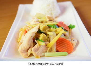 Chicken fried with ginger, Thai dish of chicken