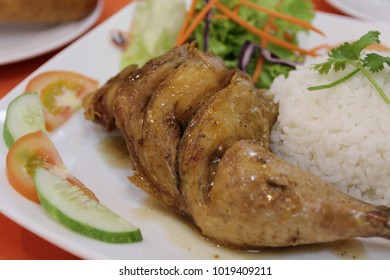 Chicken fry with rice and vegetable