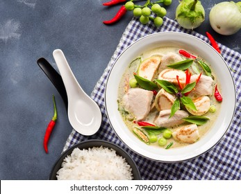 chicken green curry with eggplant, sweet basil and hot chili  famous traditional  Thai food.