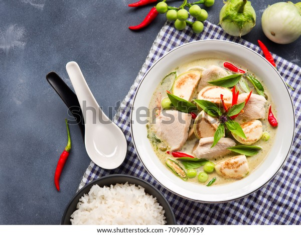 Chicken Green Curry Eggplant Sweet Basil Stock Photo Edit