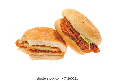 Chicken Hamburgers Isolated On White Background