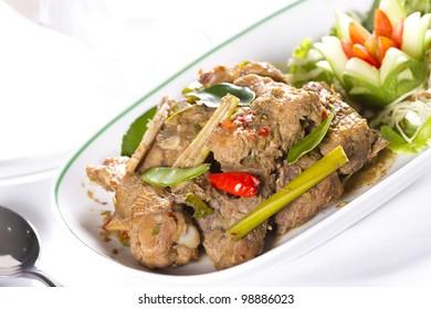 chicken herb, stir fried chicken with Thai herb
