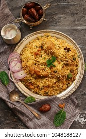Chicken Kabsa - Homemade Arabian biryani  overhead view