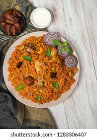 Chicken Kabsa. Saudi style spicy chicken and rice dish.