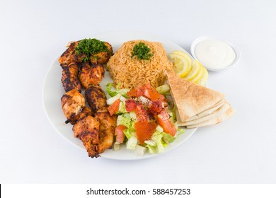 Chicken Kafta Kabab with Rice and Salad