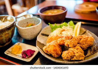 A chicken karaage set served at a Japanese restaurant called Momijitei-Hoto