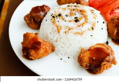 Chicken Karaage and white rice