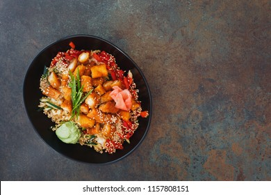Chicken Katsu Don. Deep fried chicken rice bowl and ingredient on rice ready to eat. Top view, rustic surface, copy space