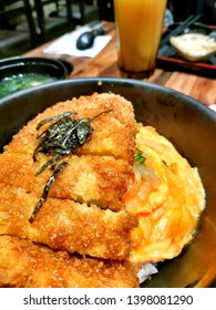 Chicken Katsu-don with nori, egg and rice. Japanese Food. Katsu don.