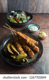 Chicken Kebab with Satay Sauce and Salad Hommus