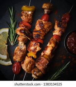 Chicken kebab with tomato and paprika with ketchup and spices