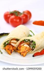 Chicken kebab wrap sandwich with chili pepper