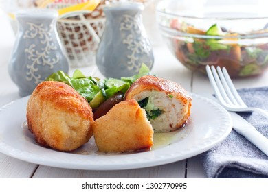 Chicken Kiev cutlets with filling, selective focus