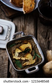 Chicken liver and mushroom pate.rustic style .selective focus