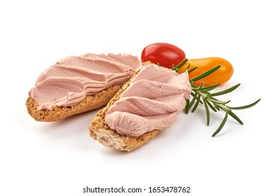 Chicken liver pate sandwich, isolated on white background.