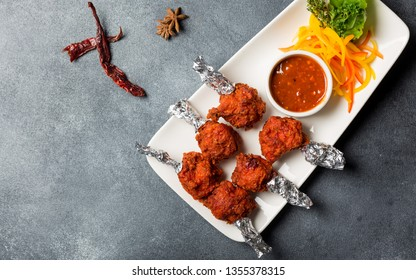 Chicken Lollipop Grilled Tandoor Tandoori Non Veg With Schezwan Dip Chutney On Side