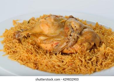 Chicken macboos traditional arabic food
