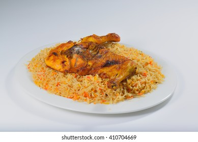 Chicken mandi or mandhi traditional arabic food