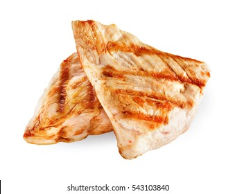 Chicken meat. Grilled fillet pieces isolated on white background. With clipping path.