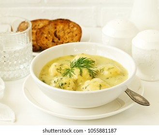 chicken meatballs in creamy sauce. Dietary food.