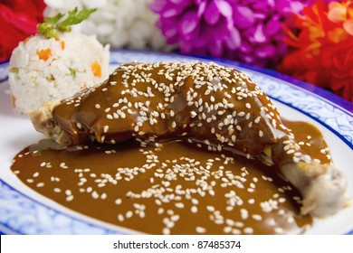 Chicken Mole Mexican Dish. Also known as Mole Poblano. Low View