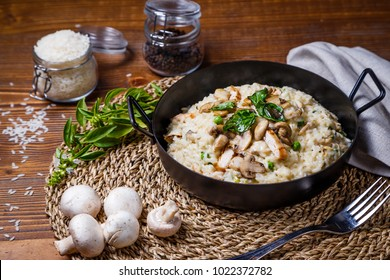 Chicken Mushroom  Risotto, Italian risotto served with chicken grill and fresh mushroom, green bean tossing with Alfredo sauce