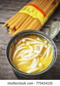 Chicken noodle soup in can with pasta
