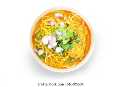 Chicken noodles with spices on white background