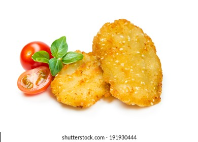 Chicken nuggets, breaded with sesame seeds isolated on white background
