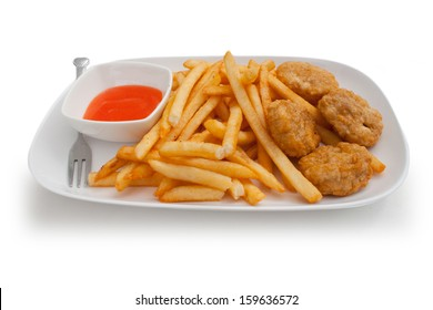 chicken nuggets and french fries , chicken , nuggets, french ,fries