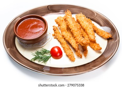chicken nuggets made in friture with spicy sauce