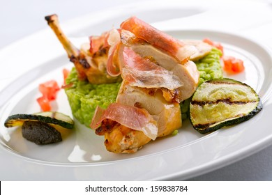 chicken with parma ham and risotto