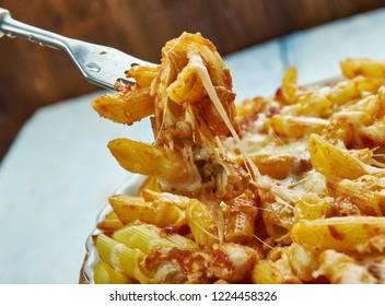 Chicken Parmesan Baked Ziti, close up Italian dishes