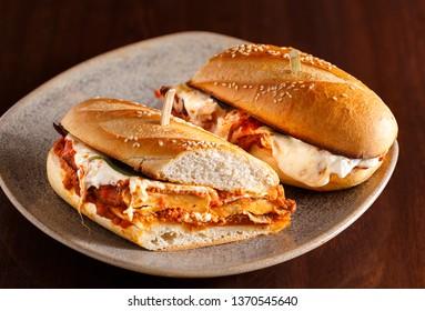 Chicken Parmesan Sandwich Cut in Half