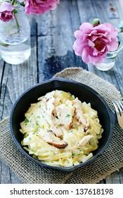 Chicken pasta on table