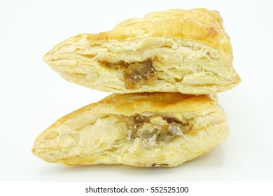 Chicken pie on white isolated background.