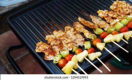 Chicken and pork barbecue grills had already served.