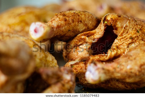 Chicken preparation for oven roasting with selective focus