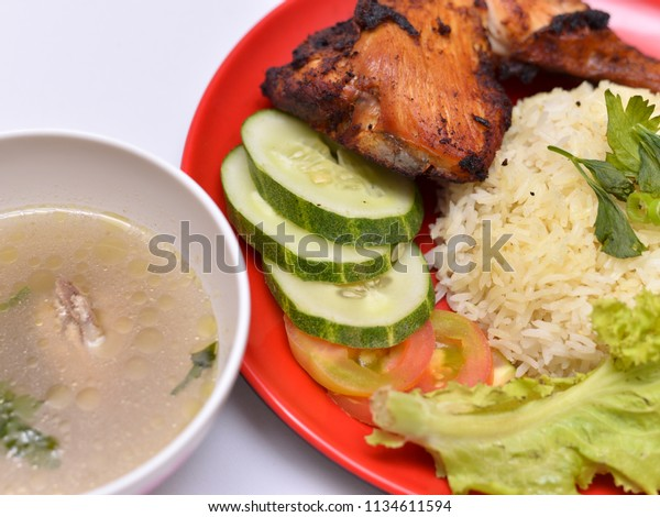 Chicken Rice Isolated On White Background Stock Photo Edit