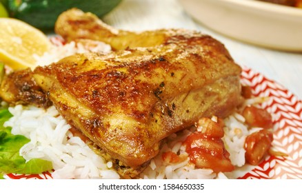 Chicken with rice and peas, Caribbean cuisine, Traditional assorted  dishes, Top view.