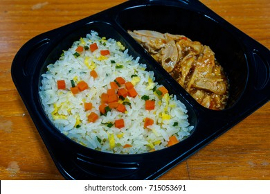 chicken rice with sauce in box lunch