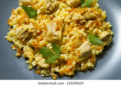 Chicken risotto with curry