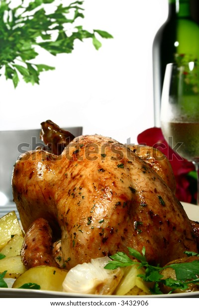 chicken, roasted with herbs and potatoes