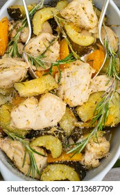 Chicken with rosemary, Leon zucchini and pepper