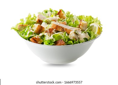 Chicken Salad. Chicken Caesar Salad. Caesar Salad with grilled chicken and croutons. Grilled chicken breast and fresh green salad isolated on white